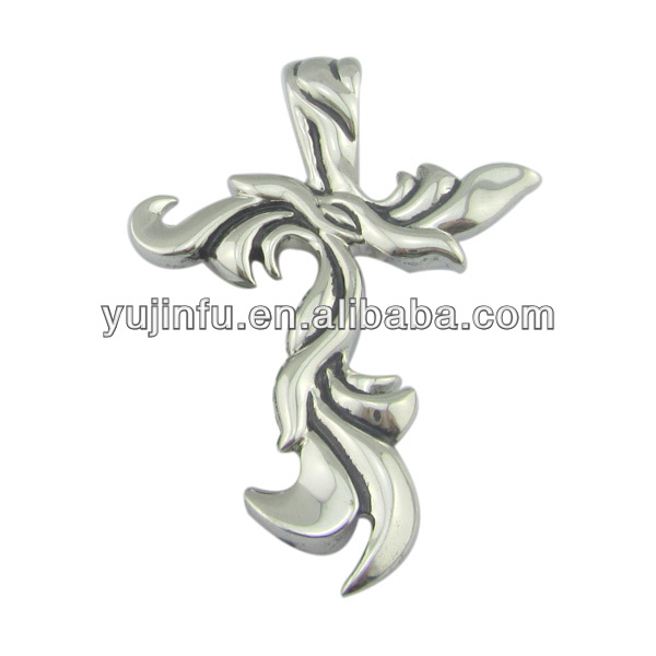 charming 925 sterling silver jewelry pendant platinum plated western cross pendant