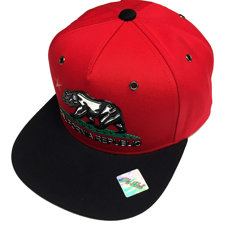 a202422e479 Get Quotations · California Republic Snapback Baseball Cap Flat bill Black  Metallic Silver Bear Hat