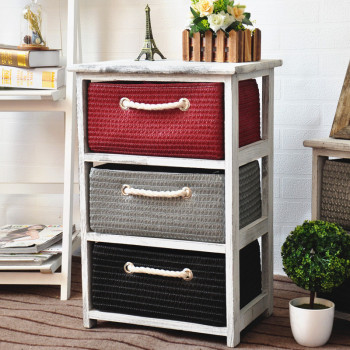 Wood Furniture Living Room Storage Cabinet With Colorful Straw Basket  Drawers