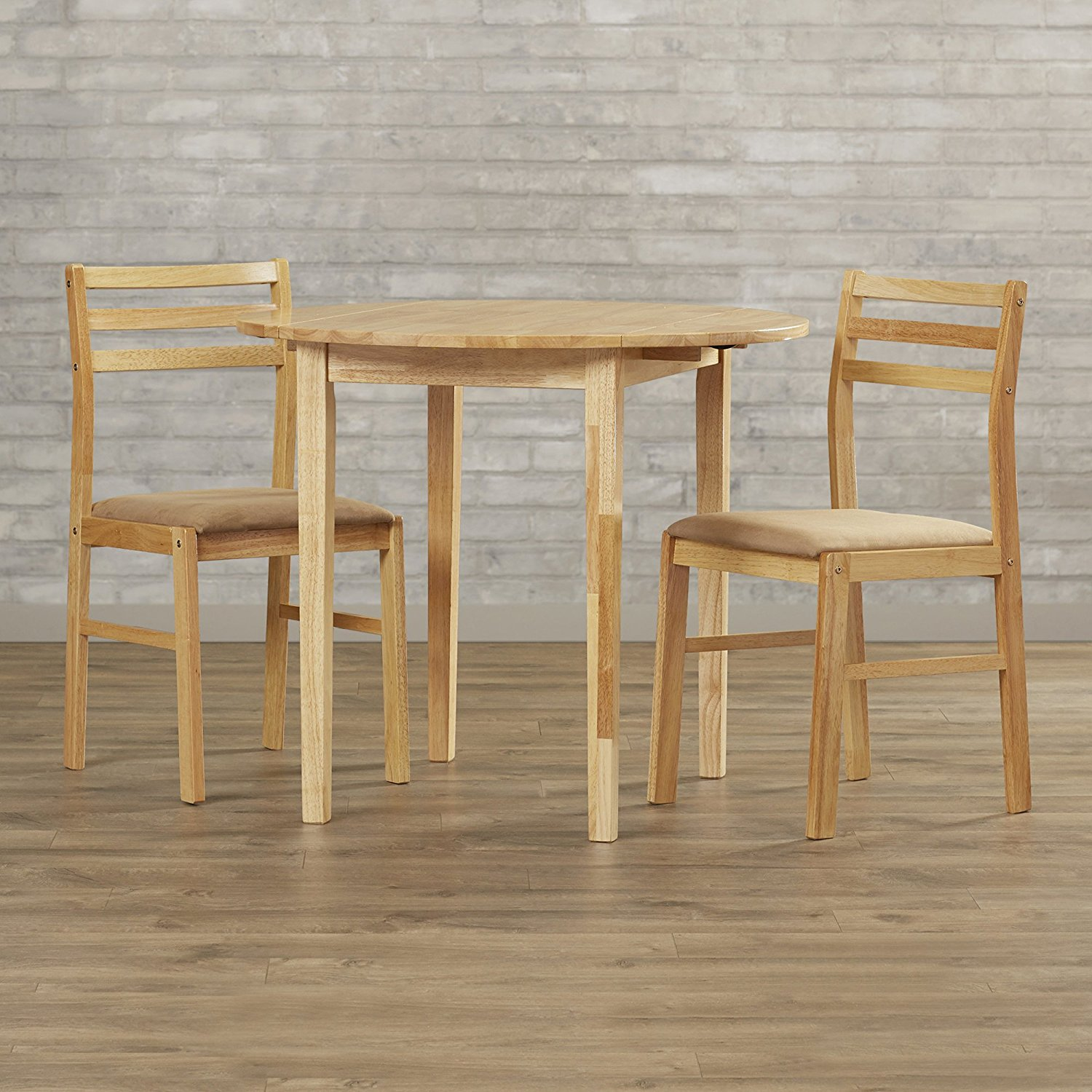Dining Room Table Set - 3 Piece Contemporary Kitchen Bistro - Breakfast Set - Drop Leaf Table (Natural)