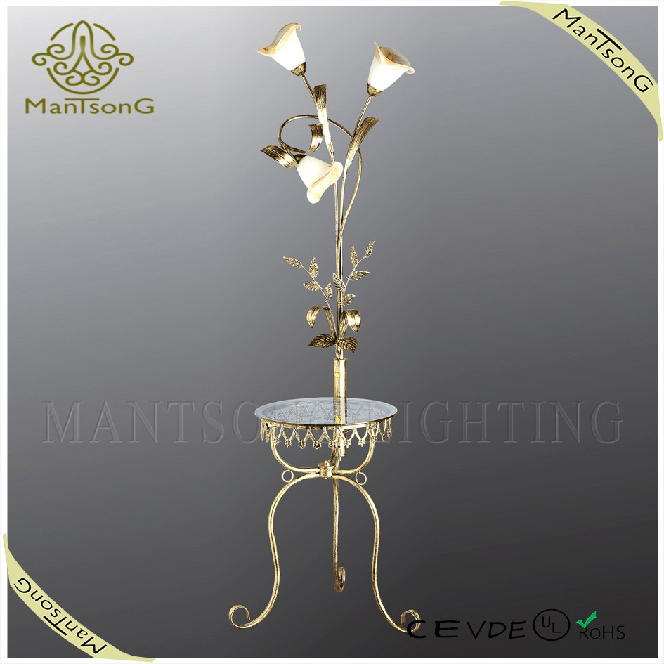 Decorative home fancy flower wrought iron floor lamp, standing light with glass table