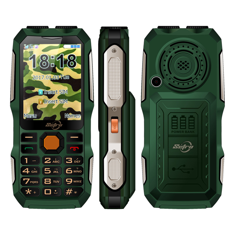 Setro D2016 GSM Quad Band Phones List 2.8 inch Dual Flashlight Satellite Iridium 3000mAh Rugged Waterproof Cell Phone