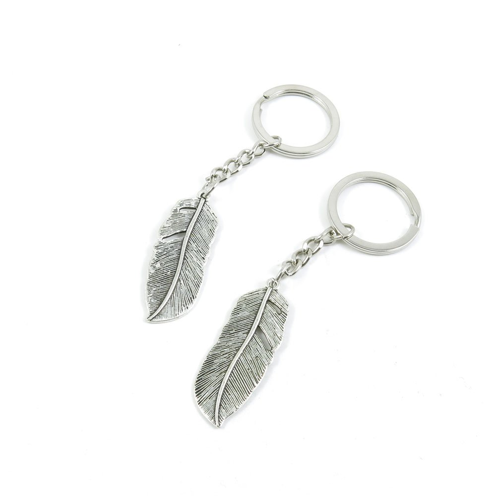 10 Pieces Keychain Door Car Key Chain Tags Keyring Ring Chain Keychain Supplies Antique Silver Tone Wholesale Bulk Lots N8HB4 Feather