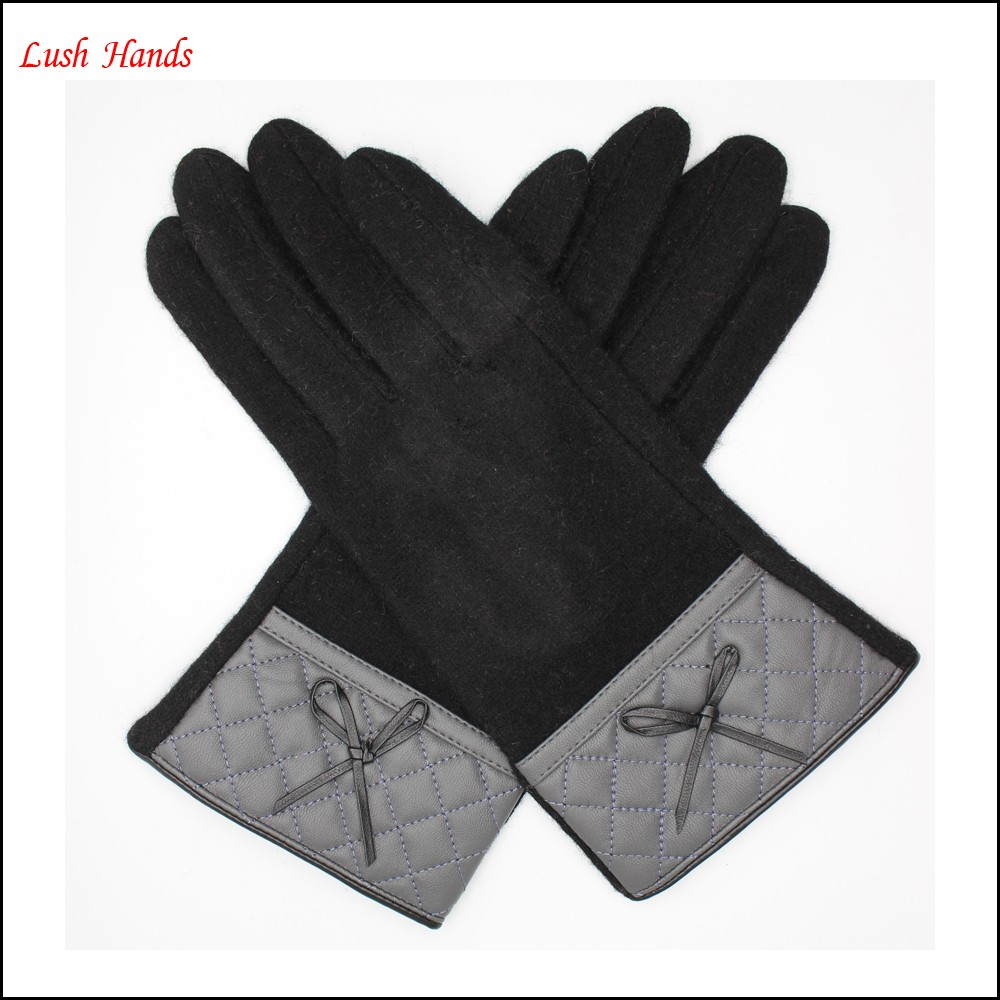 2016 new style woolen gloves with leather wrist for women