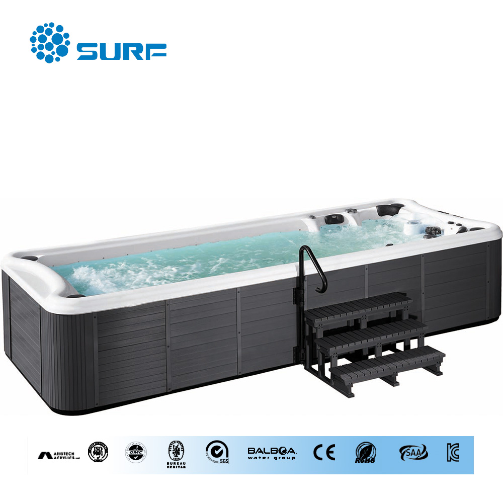 New design 5.8m enlarge rectangle acrylic outdoor swim spa with optional air bubble jets /acrylic bubble spa pool