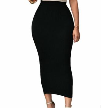 Spring Autumn Women Long Pencil Skirt Black High waist Bodycon Office Skirts