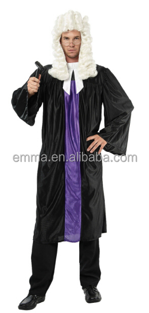 New Adult Men's Court Barrister Lawyer Judge Gown Robe Fancy Dress Costume Outfit BMG17301