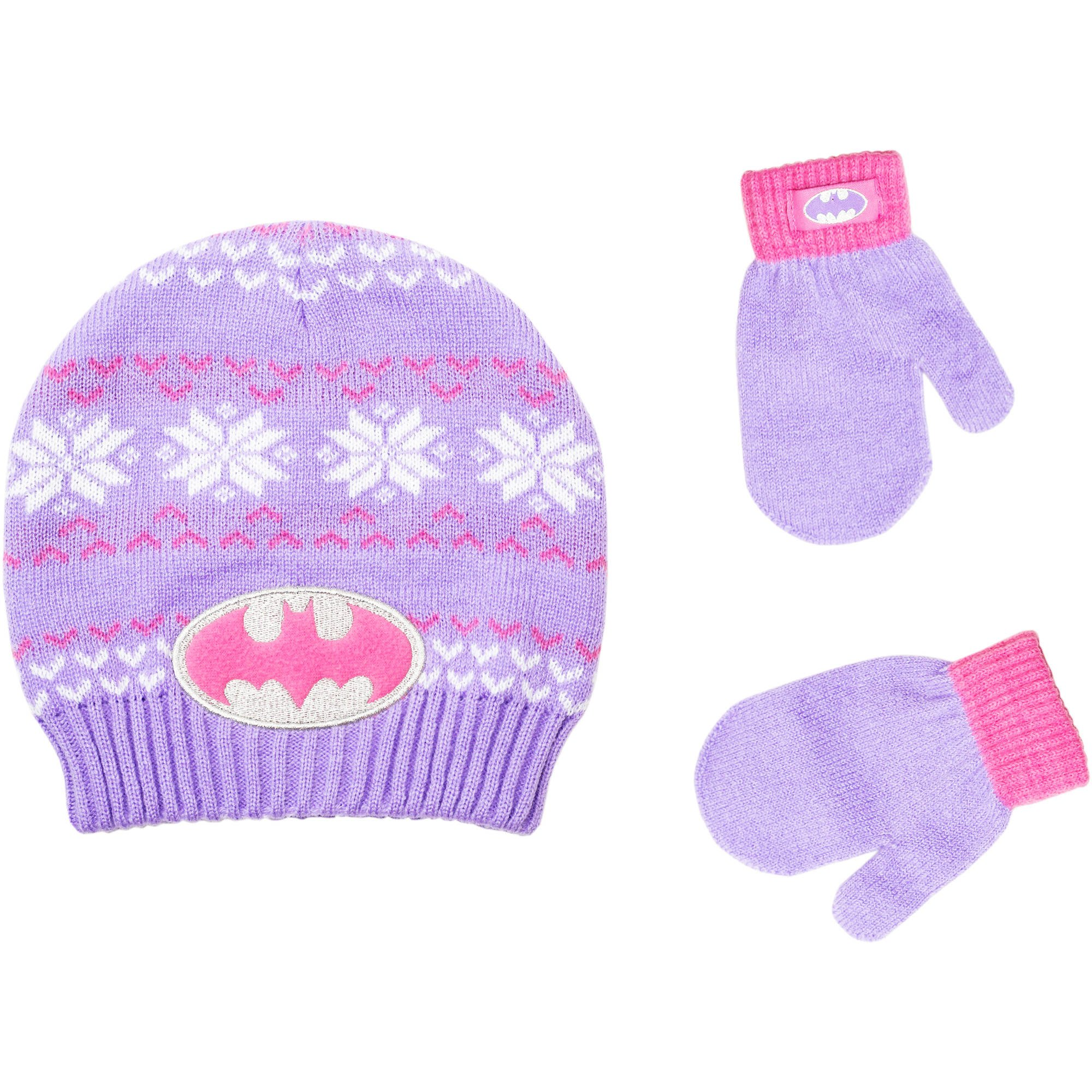 a9de07610b7 Get Quotations · Batgirl Infant Toddler Girl Knit Beanie Hat and Mittens Set  Purple