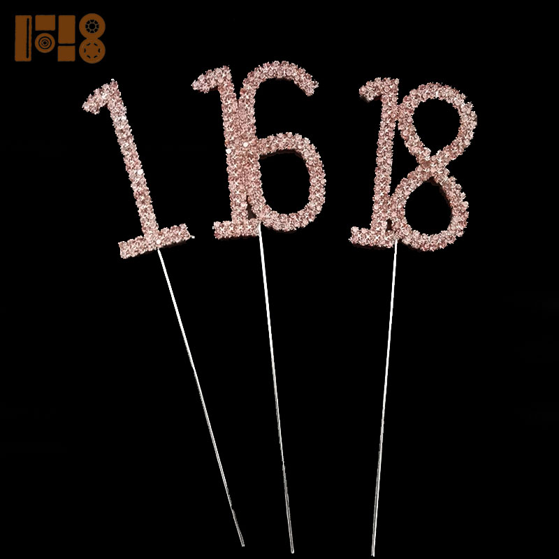 Number 18 pink rhinestone cake topper wholesale for18th Birthday Party Wedding Dectoration Cake Supplies