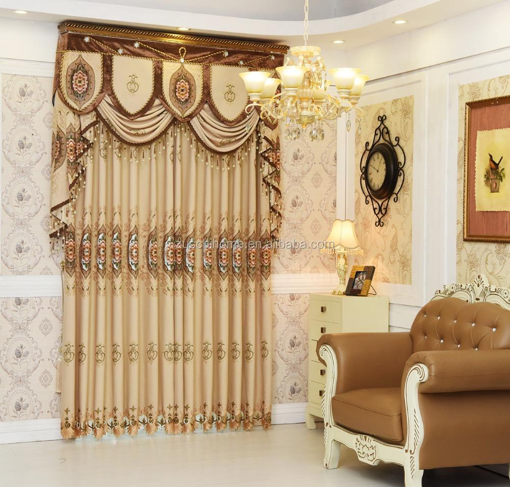 Роскошный 2019 Полиэстер Тканый современный американский стиль льняная домашняя вышивка готовые оконные шторы с прикрепленным балдахином