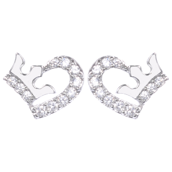 New Love Heart Crown Shape Designs For S Diamond White Gold Silver Plated Jewelry Stud Earrings Earring