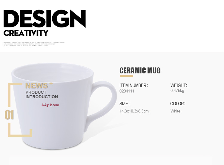 Hot Selling White Color Customized Round Shape Ceramic Mug With Handle