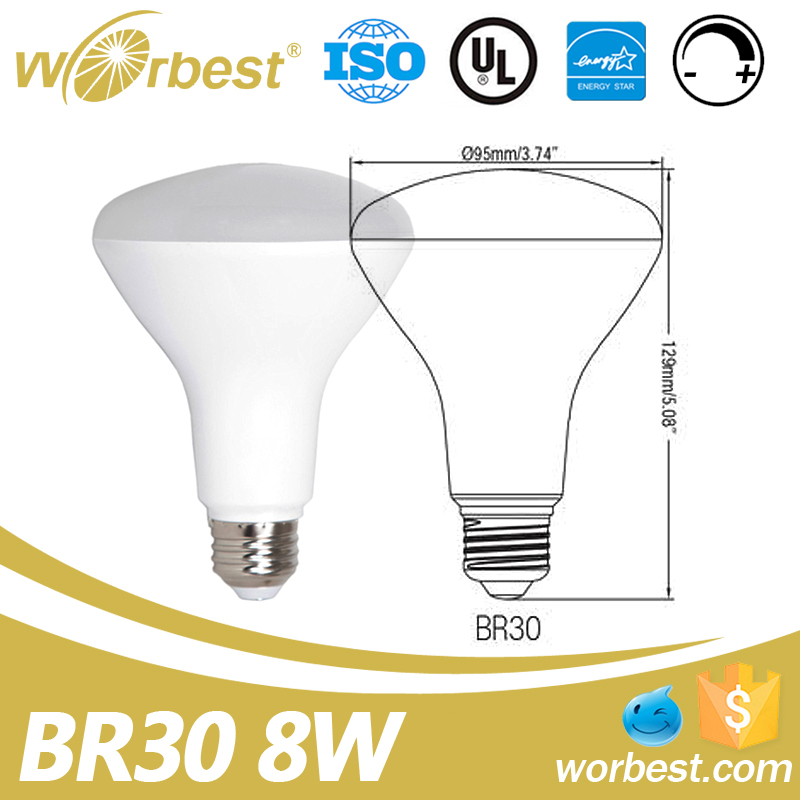 Dimmable UL Certified Recessed LED Flood BR Bulb 8W BR30 E26 Soft White 2700K 3000K