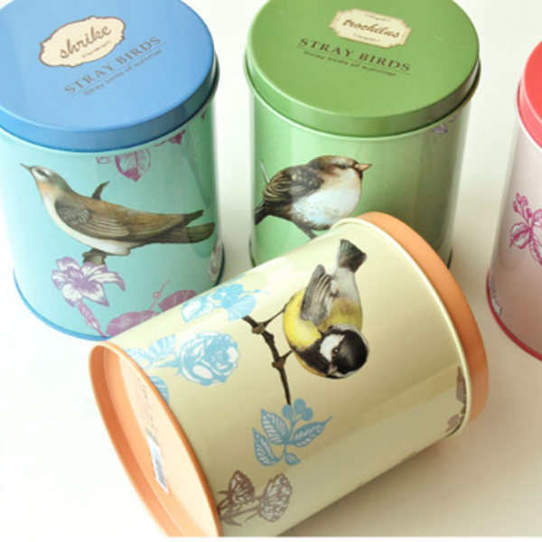 bird pattern printing metal stationery tin boxes