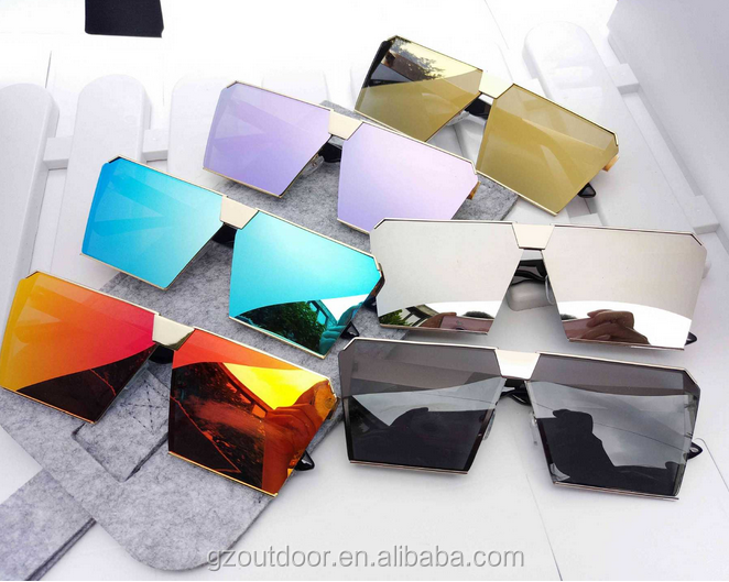 personal big frame reflective rectangle sunglasses,cool dazzle color fashion resin goggles,FDA ready stock <strong>custom</strong> logo <strong>shades</strong>