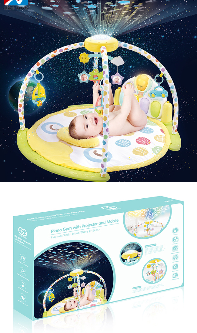 Projector night light pedal piano keyboard play gym baby mat HC419754