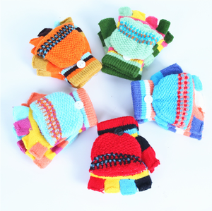 Custom and Wholesale Promotional Boys Girls Kids Fingerless Mittens Convertible Soft Colorful children knitted Flip Top gloves