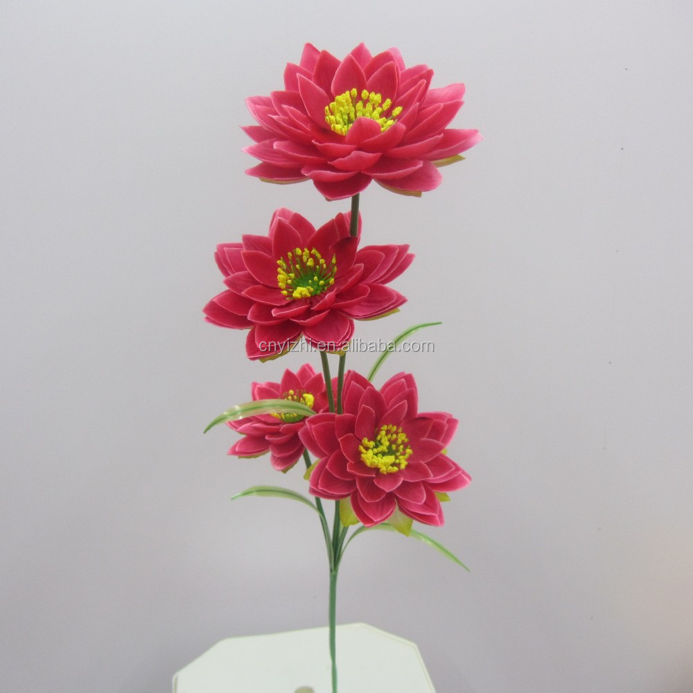 Red Artificial Lotus Flower Real Touch Plastic Lotus Bouquet Water