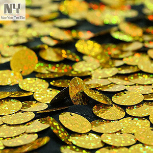 Nanyee Textile 18mm Gold Hologram Sequin Embroidery Fabric Selling By The Yard