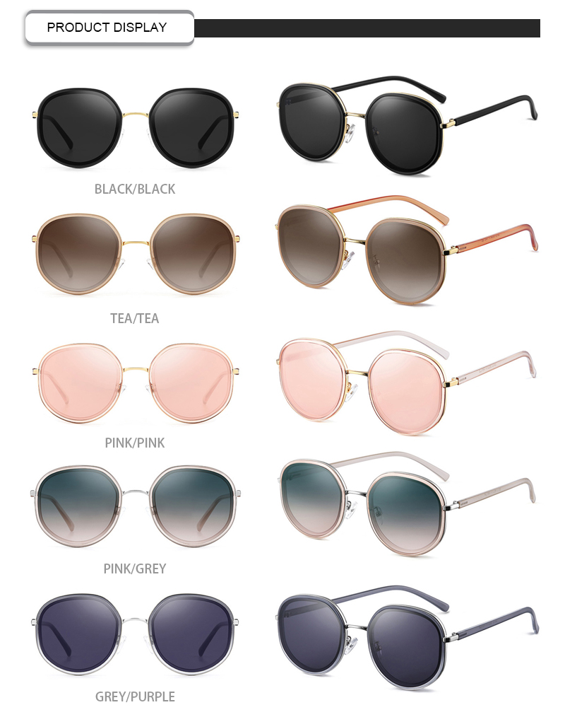 Vintage 2019 Round Frame UV400 Custom Logo Women Ladies Sunglasses