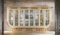 French Rococo Style Brass Mounted 8 Doors Display Cabinet, Antique Large Size Glass Door Display Cabinet/Showcase