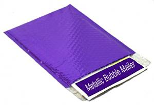 "Metallic Glamour Bubble Mailers Padded Envelopes Shipping Mailing Bags Purple - 13.75"" x 11"" 50 / Case"