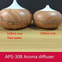 New 500ml wood two independent water tank two atomizer wood diffuser wooden essencial oil diffuser