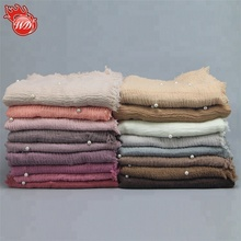 New Hot Selling Pure Color Women Shawls Scarf Hijab Muslim Crimple Crinkle With Pearls Bead Premium Cotton Hijab scarf