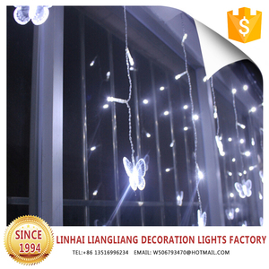 wedding party decoration led fairy lights white butterfly curtain