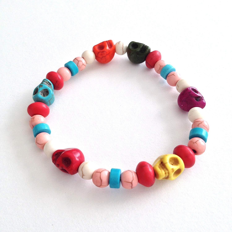 Turquoise Skull Gemstone Bead Stretch Bracelet, Multi-Color