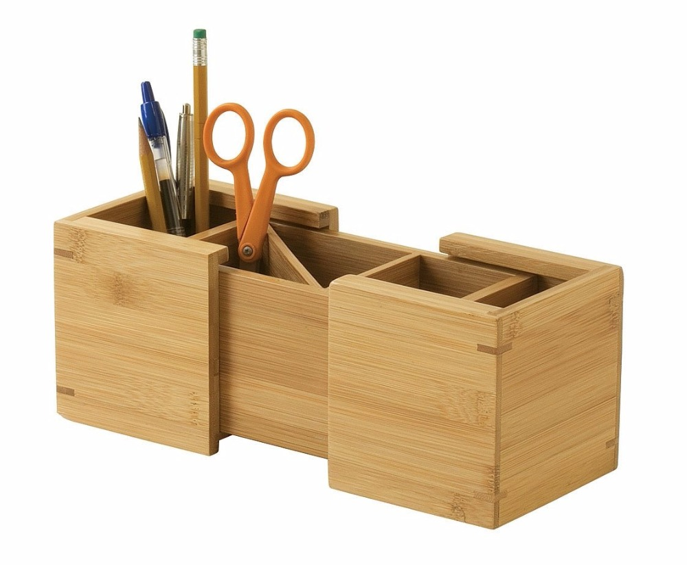 Expandable <strong>Bamboo</strong> <strong>pen</strong> box <strong>holder</strong> with 3sections