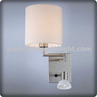 UL CUL Listed Adjustable 2 Lights Hotel Bedside Headboard Reading Lamp With Small Glass Light W81040