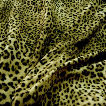 Cheetah Leopard Animal Print Velvety Faux Suede Microfiber