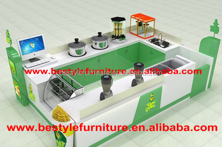 Neat and tidy fresh 3D design shopping mall sweetcorn kiosk with boiling machine
