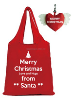 Merry Xmas reusable folding shopping tote gift shop polyester name ideas bag with cute heart wings pouch