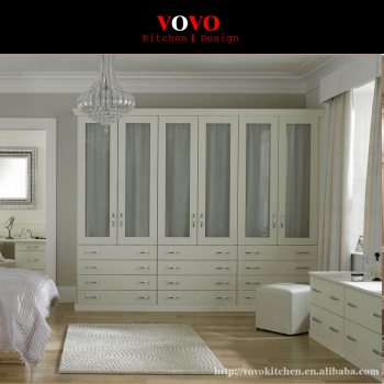 White Wood Wardrobe With Gl Door Design