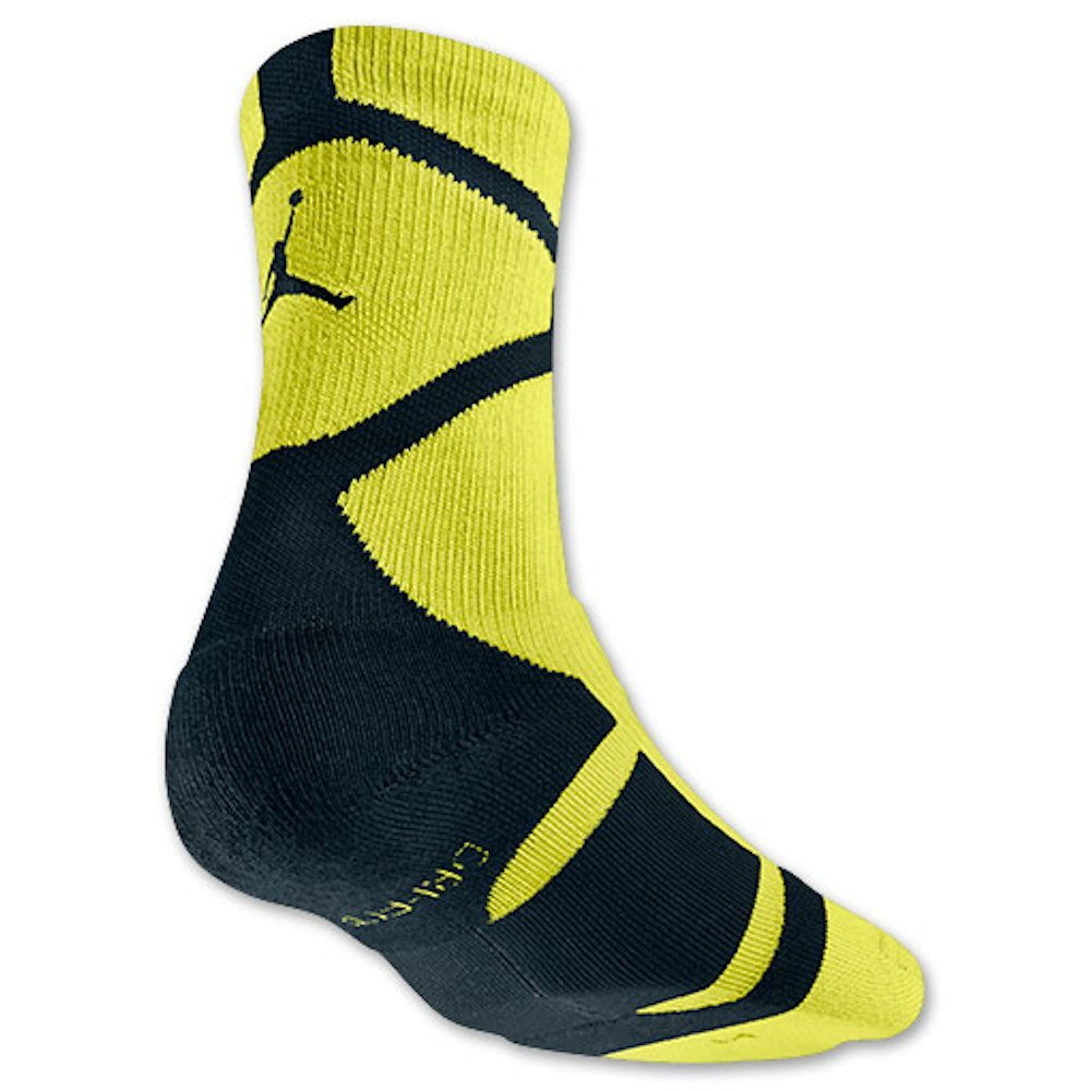 840fbd9111daed Get Quotations · Nike Men s Jordan Russell Westbrook Basketball Socks Large  (8-12) Cyber Green