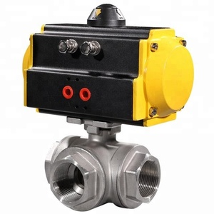 SS304 Stainless Steel 1/2 Inch 3 Way Ball Valve with Pneumatic Actuator