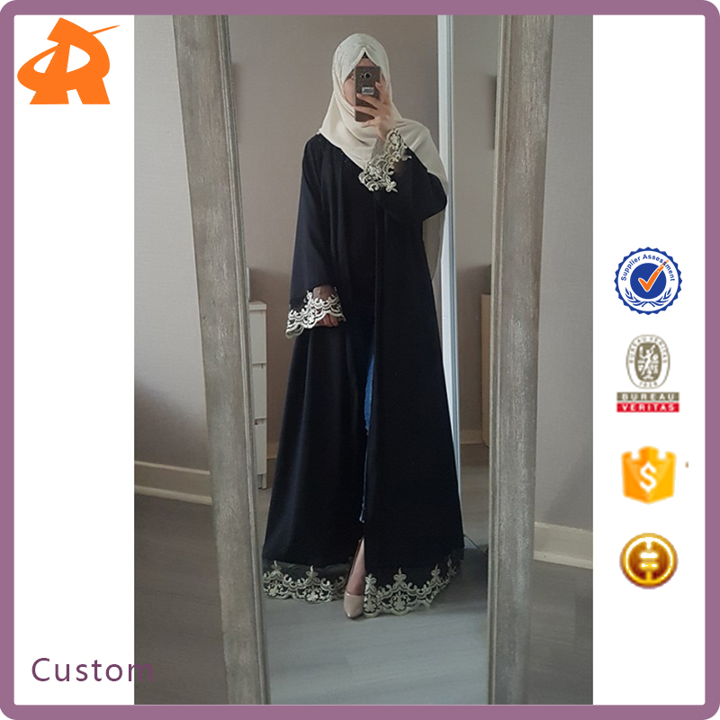 2017 Fashionable OEM Gold Lace Front Open Abaya Kimono Fashion Design Woman Abaya