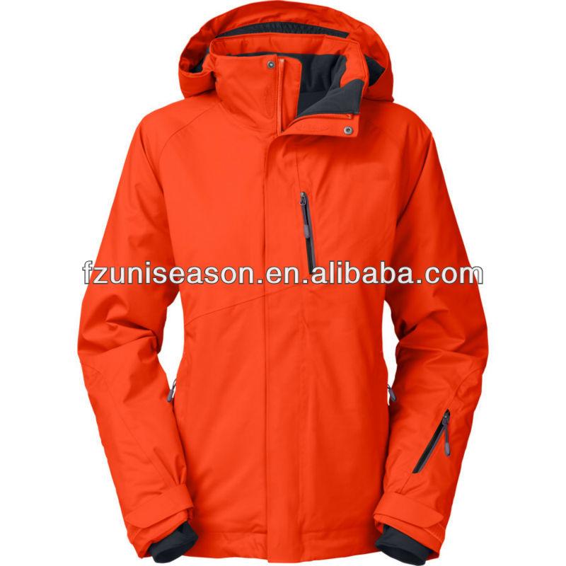 Waterproof Hooded Ladies Orange Ski Jacket Women