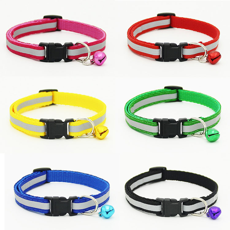 Black Buckle Reflective Necklace Pet Dog Adjustable Six Colors Bell Collar