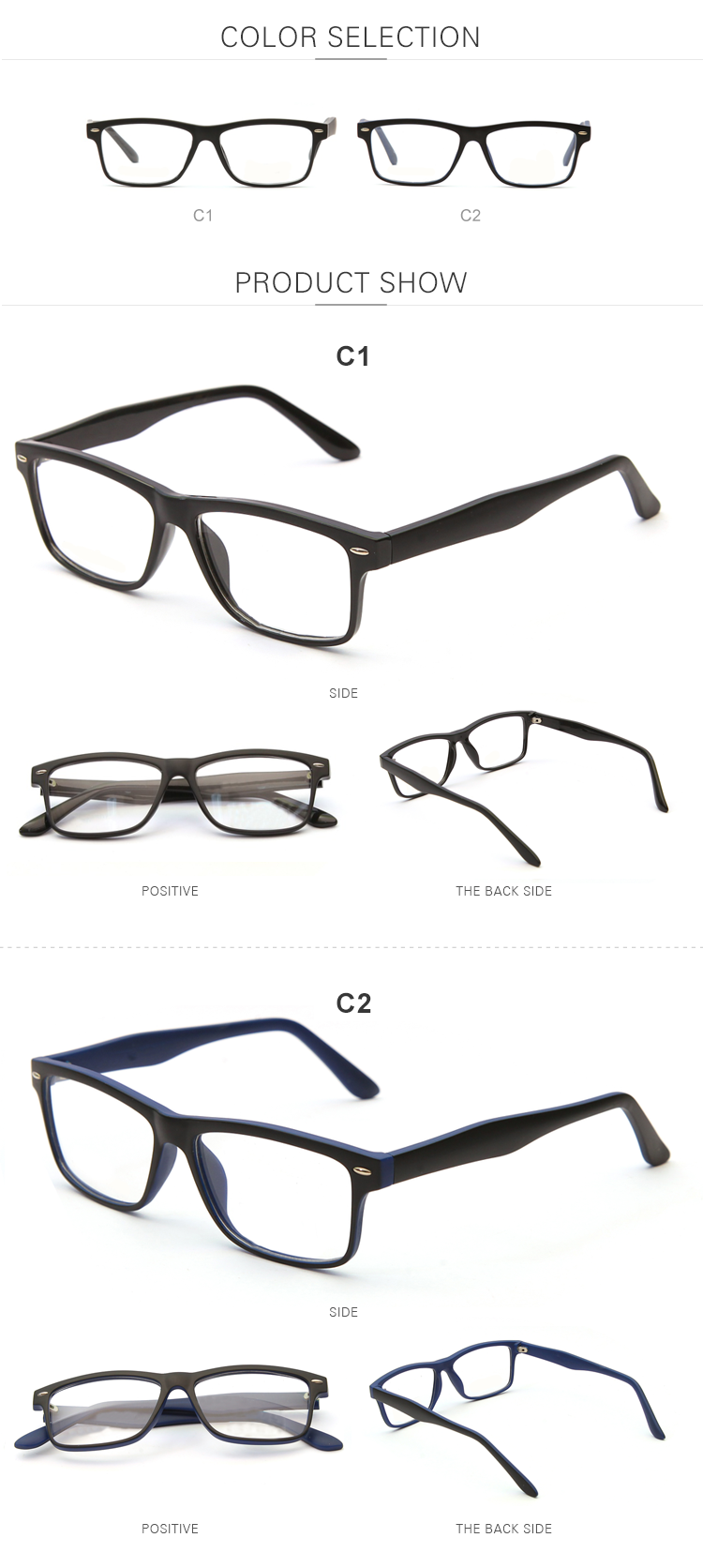 Wholesale Custom Low Power Matte Black Color Reading Glasses Men Women +1.0,+1.5