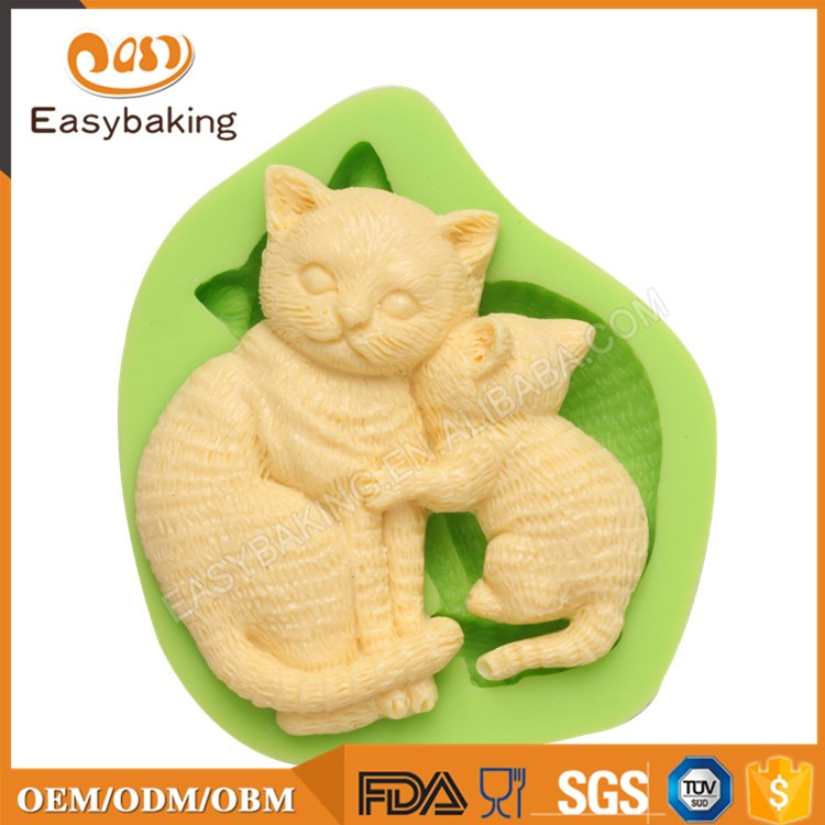 ES-0049 Animal Themed Kiss Cats Silicone Molds Fondant Mould for cake decorating