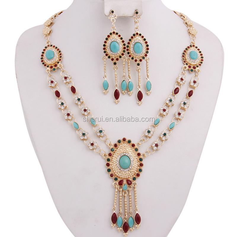 2016 elegante juego de novia pesado oro laminado diamante cristal vintage joyas indias collar pendientes bisuteria