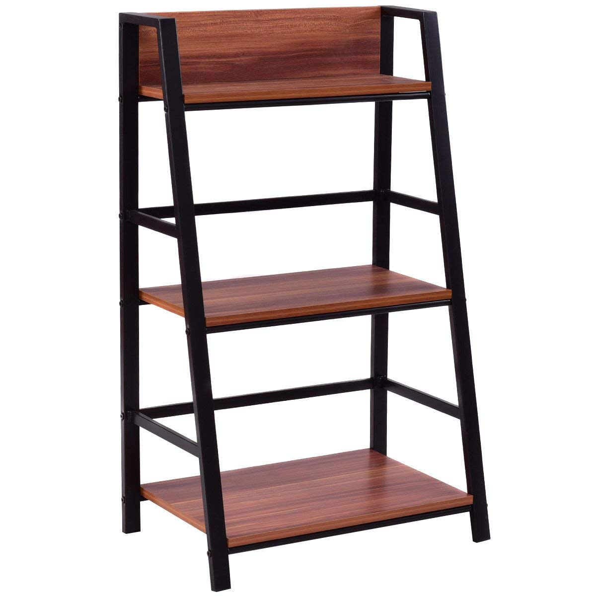 Get Quotations Walnut Mdf 3 Tier Steel Ladder Storage Display Shelf