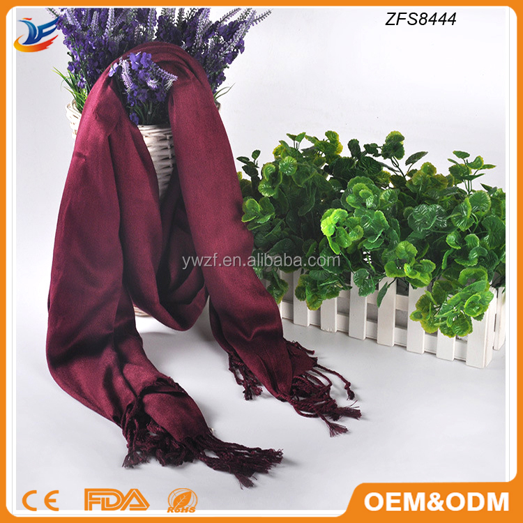 wholesale Rayon various long plain color Artificial cotton fringed tassel scarf