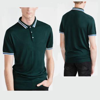 2f346e85d1 Atacado Contrasting piping polo camisas com três botões de fixação cor lisa polo  verde escuro