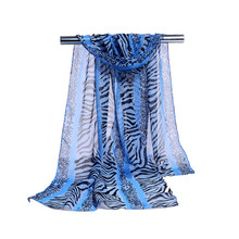 Factory China Multicolor Fresh Choice Plain Long Polyester Ripple Stripe Japanese Silk Scarf