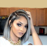 lace front gray human hair wigs 7a+ best quality brazilian grey ombre bob wig lace front human hair two tone bob style