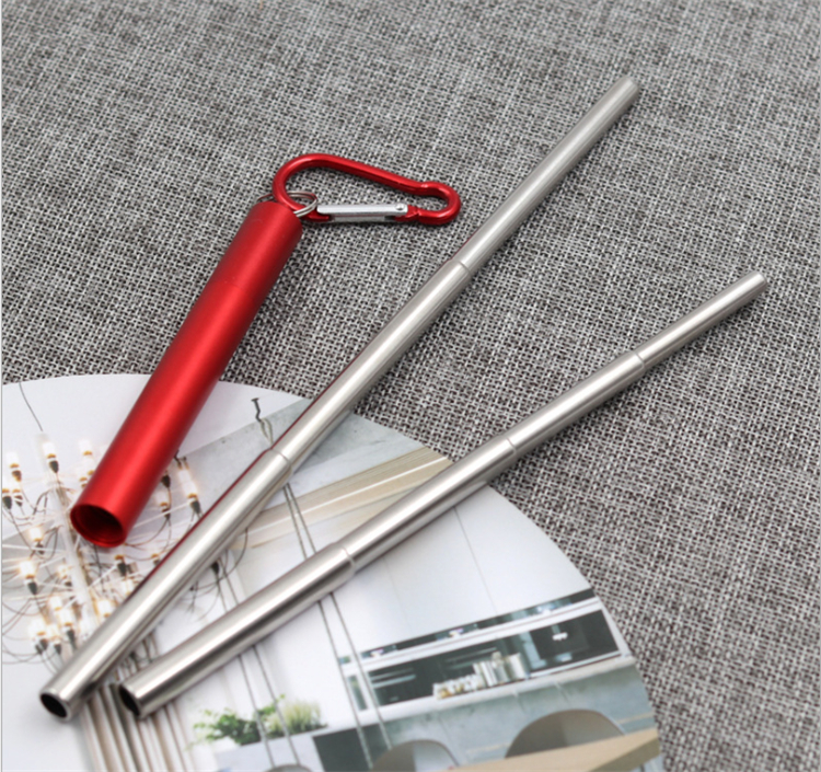 2019 new stainless steel Three section extension telescopic metal straw with buckle